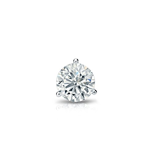 18k White Gold 3-Prong Martini Diamond SINGLE STUD Earring (1/4 ct, J-K, I1-I2) - Diamond Martini Stud