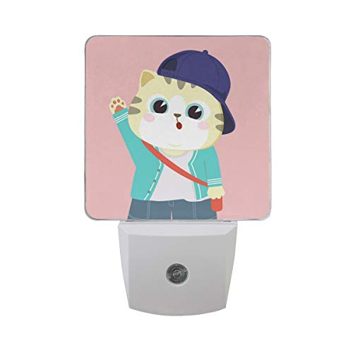 XinMing Cartoon Lovely Cat Kitty Hat White LED Sensor Night Light Super Bright Power Dusk to Dawn Sensor Bedroom Kitchen Bathroom Hallway Toilet Stairs Energy Efficient Compact(2 Pack) ()