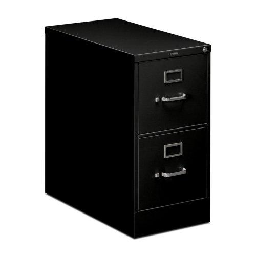 HON 210 Series Locking Vertical Filing Cabinets-Letter File, 2 Drawer, 15″Wx28-1/2″Dx29″H, Black