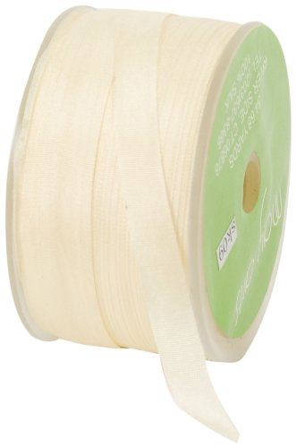 May Arts 1/4-Inch Wide Ribbon, Ivory Silk Ribbon by May Arts