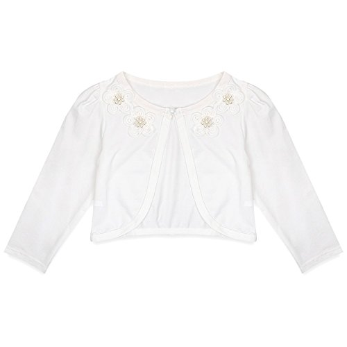 TiaoBug Girls Long Sleeve Flower Bolero Wedding Bridesmaid Party Shrug Jacket Ivory White 7-8
