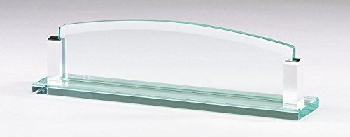 Glass Desk Nameplate Aluminum Corners (Glass Desk Nameplate)