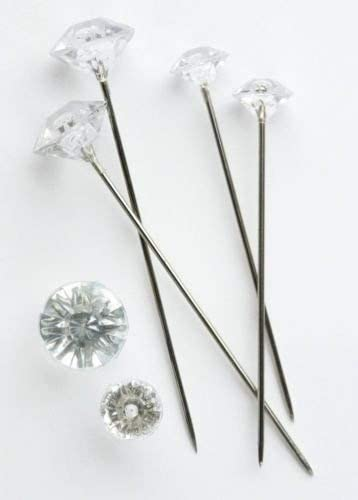 Diamante Pin Clear Acrylic Diamond Shape Head in Silver Oasis Wedding Floristry