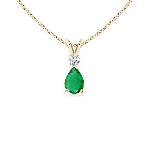 Emerald Teardrop Pendant with Diamond in 14K Yellow Gold (6x4mm Emerald) (Emerald Pendant Diamond 14k Aa)