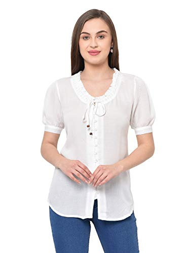 2Bme White Solid Women Top