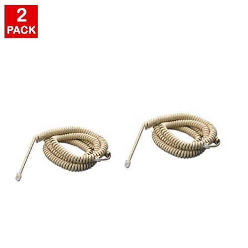 10FT US General Ivory Phone Handset Curly Cord Cable (2 Pack) Universally Compatible: 10 Feet (3M) Landline Cable 4P4C 4in Lead