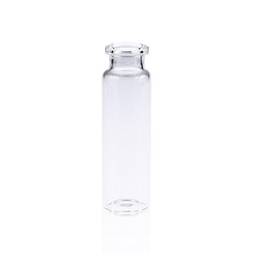 ALWSCI Borosilicate Glass Clear Flat Bottom Headspace Vial, Beveled Finish, 20ml Capacity, Case of 100