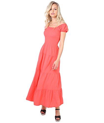 KRISP Damen Boho Maxi Kleid Einfarbig Bodenlang Koralle (9263) nBwZXeljo 325221282c