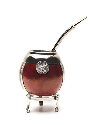 Handmade Mate gourd - german silver trim and base - with boambilla (straw) (Bordeaux) by Sam&Co.