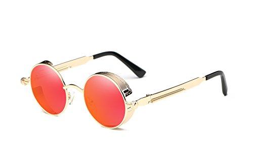 - VIVIAN & VINCENT Vintage Hippie Retro Metal Round Circle Frame Sunglasses Gold Frame Red Lens