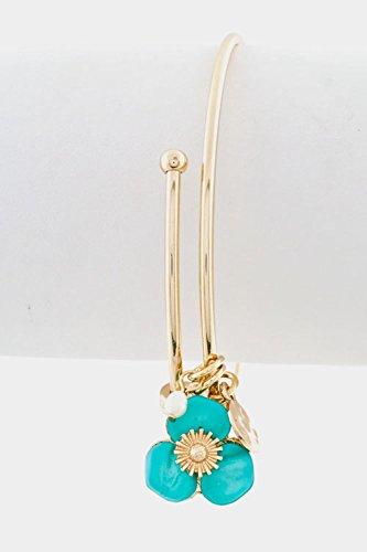 Karmas Canvas Shell Flower Dangle Bracelet (Turquoise) (Wooden Bangles Shell)