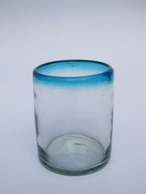 Mexican Blown Glass Tumblers Aqua Blue Rim (Set of 6) (Glass Blown Set)
