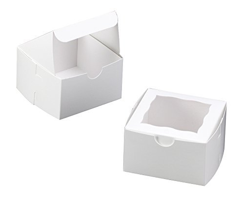 White Bakery Box with Window 4x4x2.5 inch 25 PACK cupcake boxes, gift box, wedding, party favor, donut, pie, cookie boxes ()