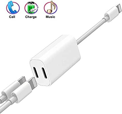Headphone Adapter for iPhone X Dual Jack Audio Charger Splitter Dongle Headphone Audio+Charger for iPhone Music Control Charger and Phone Call Function Compatible for iPhone 7//8// X//XS//XR-White