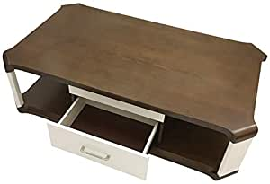 Glass Top With Geometric Design Coffee Table With Two Drawer, Brown