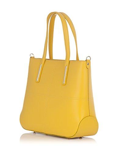 Laura Moretti - Bolso de piel auténtica con costuras Amarillo