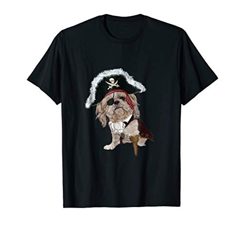 Funny Shih Tzu Pirate Halloween Dog Lovers Costume T Shirts ()