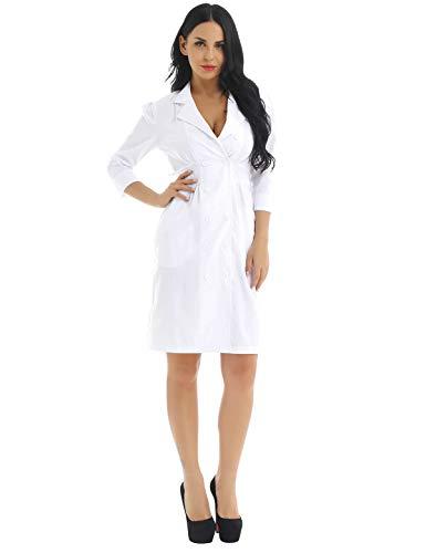 iEFiEL Adult Long Sleeve Scrubs Lab Coat Medical Nurse Doctor Uniform Coat Women B XXL