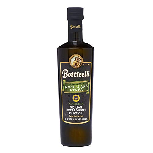 Botticelli Nocellara Etnea Sicilian Extra Virgin Olive Oil. From Cold Extracted Olives. Great for Cooking, Sautéing, as a Salad Dressing and Topping (16.9oz/500ml) ()