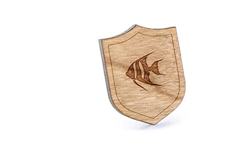 - Angelfish Lapel Pin, Wooden Pin And Tie Tack | Rustic And Minimalistic Groomsmen Gifts And Wedding Accessories