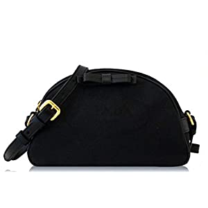 Prada Black Bandoliera Fabric Logo Jacquard Small Crossbody Bag 1BH125