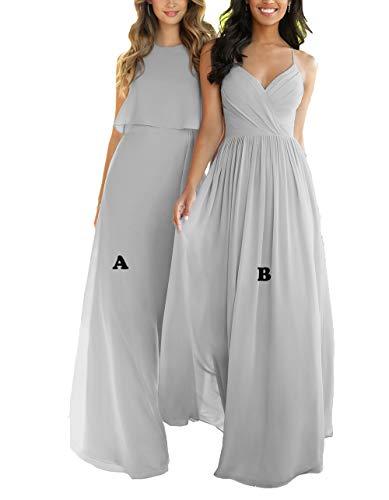Nicefashion Women's 2019 Simple Sweetheart Floor Length Keyhole Open Back Boho Wedding Party Dresses Gray US4 ()