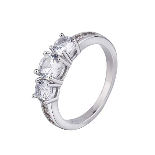 WUAI Romantic Gift Rings for Women Rings Couples Lovers Diamond Elegant Wedding Promise Jewelry Silver