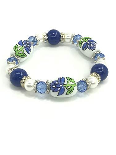 Bluebonnet Texas State Flower With Rhinestone Beads Stretch Bracelet In ()