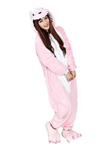 [Cosplay Animal Pajamas Sleepwear Adult Unisex Onesies Halloween Costume (S (Height 150-160 cm), Pink] (Animal Suits For Adults)