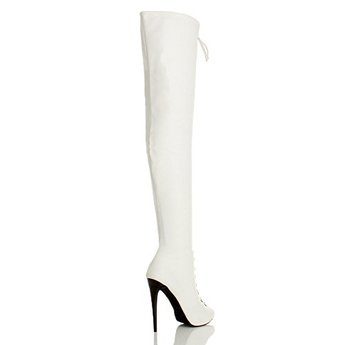 up Knee Lace Ajvani Thigh The Ladies Matte high Zip Boots Club Size White Over Womens Heel Stiletto XrFPFYv7