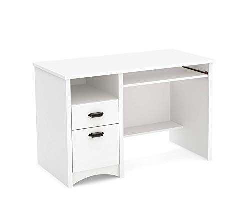 Wood & Style Computer Desk with 2 Drawers and Keyboard Tray White Pure Decor Comfy Living Furniture Deluxe Premium Collection (Gascony Home Office Set)