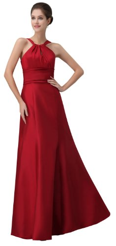 herafa p32938-2 Prom Dresses Elegant Halter Sleeveless Creasing Long 0 A-Line Red