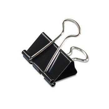 """Universal 10210 Medium Binder Clips, Steel Wire, 5/8"""" Cap., 1-1/4"""" Wide, Black/Silver, Dozen"""
