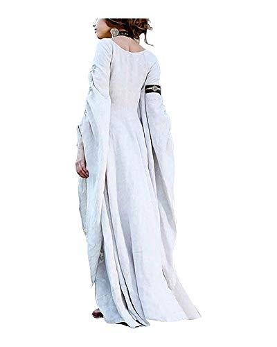 Momo Womens Plus Size Greek Roman Goddess Costume Renaissance Medieval Costume Dress Over Long Dresses (X White, 4XL) -