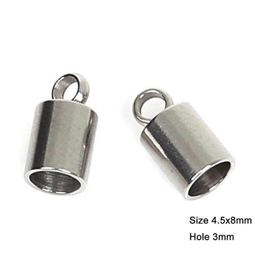 10x13 mm Hole Size:2mm 3mm 5mm 6mm 7mm 8mm 9mm 10pcs//lot Multiple Choices Stainless Steel Cord End Caps for Jewelry Making DIY Bead Caps
