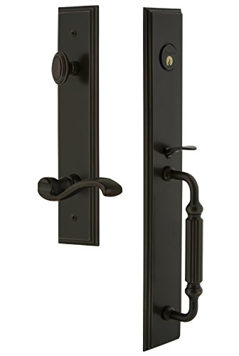 (Grandeur 847550 Hardware Carre' One-Piece Handleset with F Grip and Portofino Lever in Timeless Bronze, Backset Size-2.75