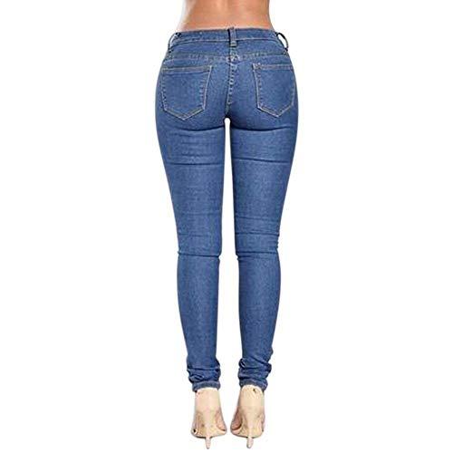Alta Abbigliamento Donna Pantaloni Bassa Vita Strappati Blau Matita Distrutto Da Denim A Stretch qZXwXxfgE1