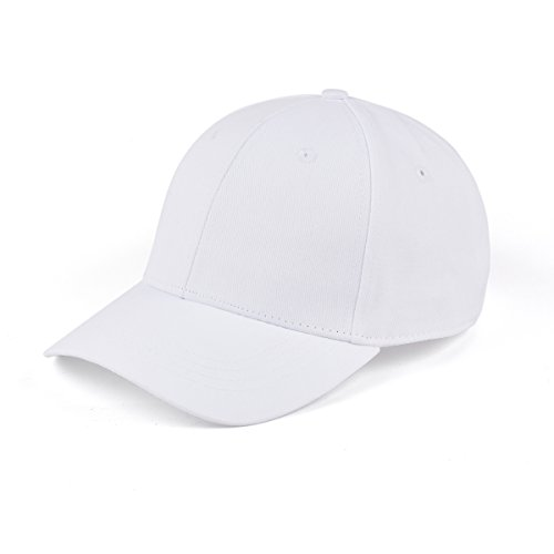 White Structured Adjustable Hat (AUNG CROWN 100% Cotton Plain Baseball Caps Structured Adjustable Men Women Hats (White))
