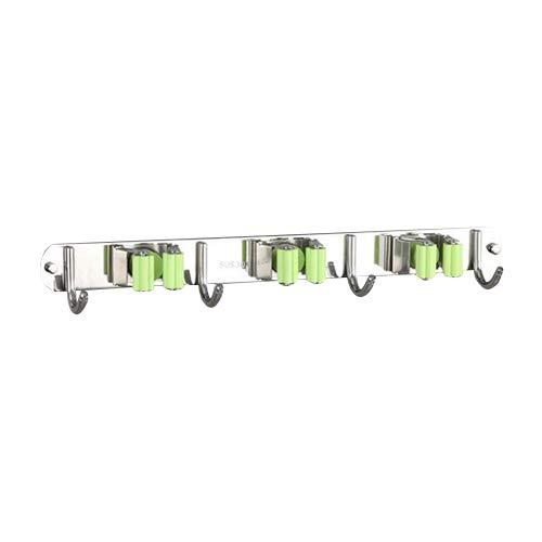 304 Stainless Steel Mop Rack Bathroom Balcony Broom Clothes Pole Storage Rack Hook Mop Rack Green 3 Card 4 Hook ()