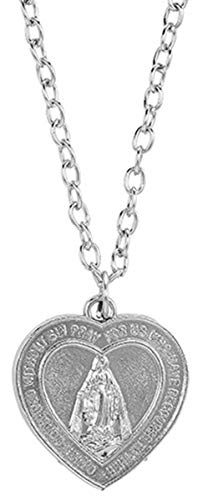(Silver Toned Heart Shaped Miraculous Medal Necklace with Our Father Prayer Inscription, 1 Inch)