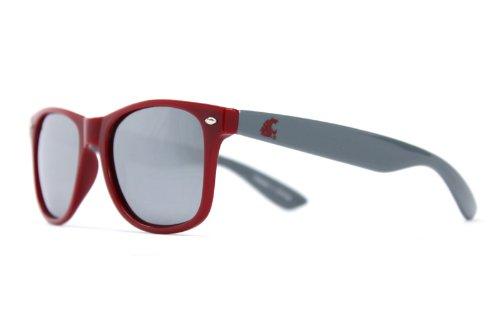 NCAA Washington State Cougars WSU-3 Crimson Front Temple, Grey Lens Sunglasses, One Size, - Wsu Sunglasses
