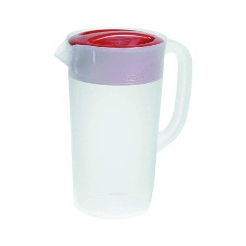 RUBBERMAID Covered Pitcher 2.25 qt - White with Red Cover (2 Qt Pitcher)