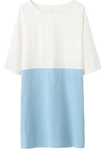 Cromoncent Femmes Lâche Ajustement Lin Manches 3/4 Robe Légère Encolure Ras Du Cou Couleur Sort Bleu