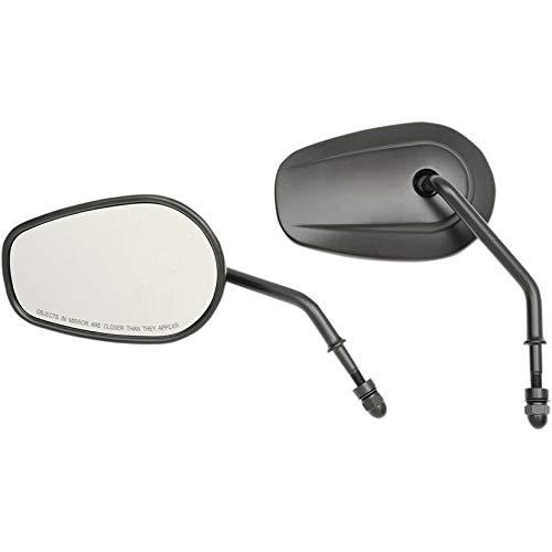 (Drag Specialties Matte Black OE Style Short Stem Teardrop Mirrors for Harley)