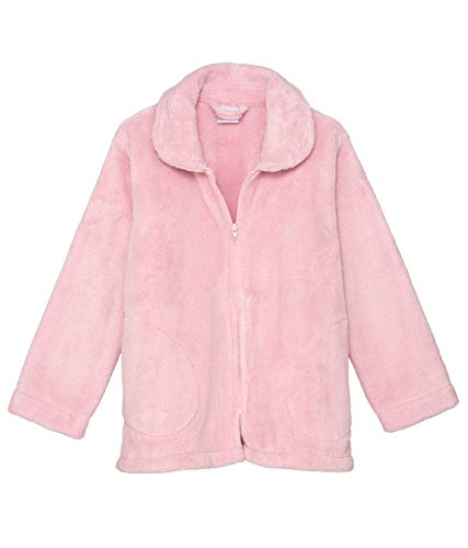 (TowelSelections Women's Bed Jacket Zip Front Cardigan Fleece Robe Lounge Coverup Small Chalk Pink)