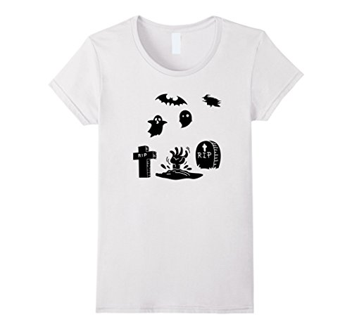 White Graveyard Ghost Costume (Womens Spooky graveyard Halloween costume ghost witch t-shirt XL White)