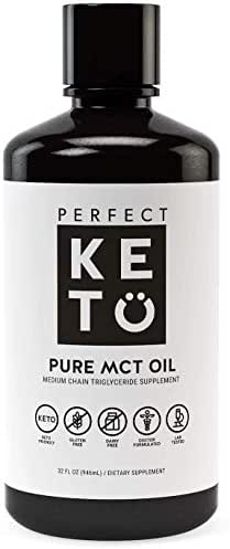 Perfect Keto Rapid Energy Pure MCT Oil: Ketogenic Coconut Oil Supplement. 100% Pure MCT Oil | Ketones Best as Ketogenic Diet Supplement (C8/C10, 32 oz)