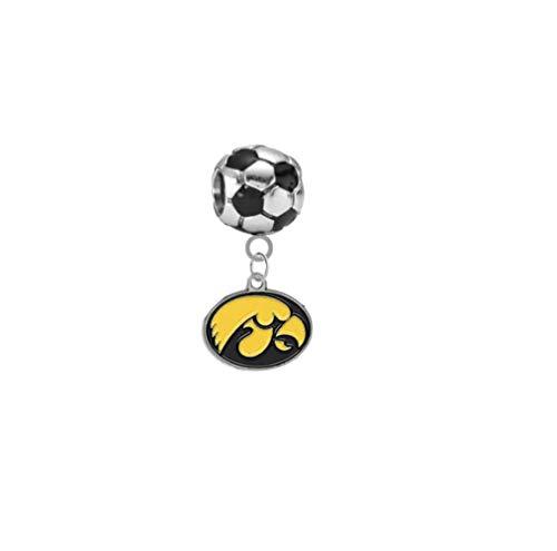 Iowa Hawkeyes Soccer 3D Universal European Bracelet Charm -