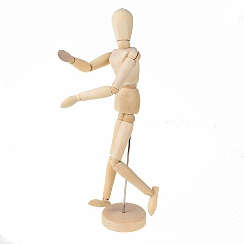 Mannequin Wooden Flexible Human Model Manikin Blockhead Dummy Puppet Home Decoration XY-P Joints 12 inch 30cm, with Stand