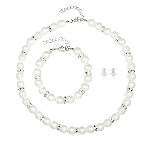 - Femtindo Faux Pearl Necklace Bracelet Stud Earrings for Women Bridal Jewelry Set for Wedding Fit with Bridesmaids Dress (02 White)